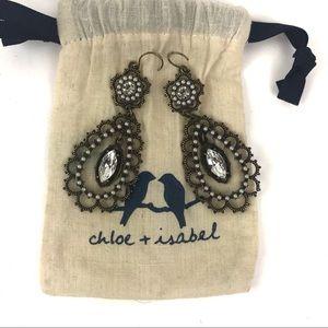 Chloe + Isabel Pearl Crystal Filigree Earrings